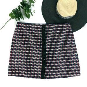 Loft striped woven button detail a-line mini skirt